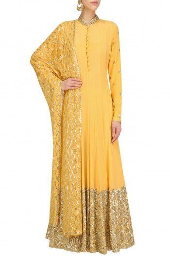 Anushka Khanna Mango Yellow Embellished Anarkali Set #happyshopping #shopnow #ppus