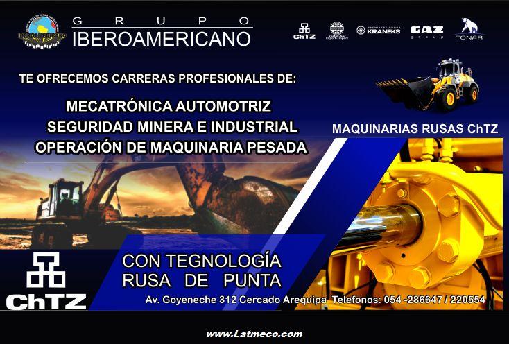 Carreras en Mecatronica automotriz Operacion Maquinaria pesada Arequipa Peru - IBEROAMERICANO seguridad minera e industrial. Instituto de Educación, Cursos.