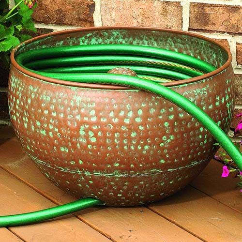 garden hose container hammered copper finish