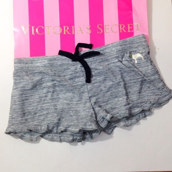 VS grey M sleep shorts Grey sleep short with ruffles on the bottom. Victoria's Secret PINK brand. New, still in the packaging that online orders come in PINK Victoria's Secret Intimates & Sleepwear Pajamas
