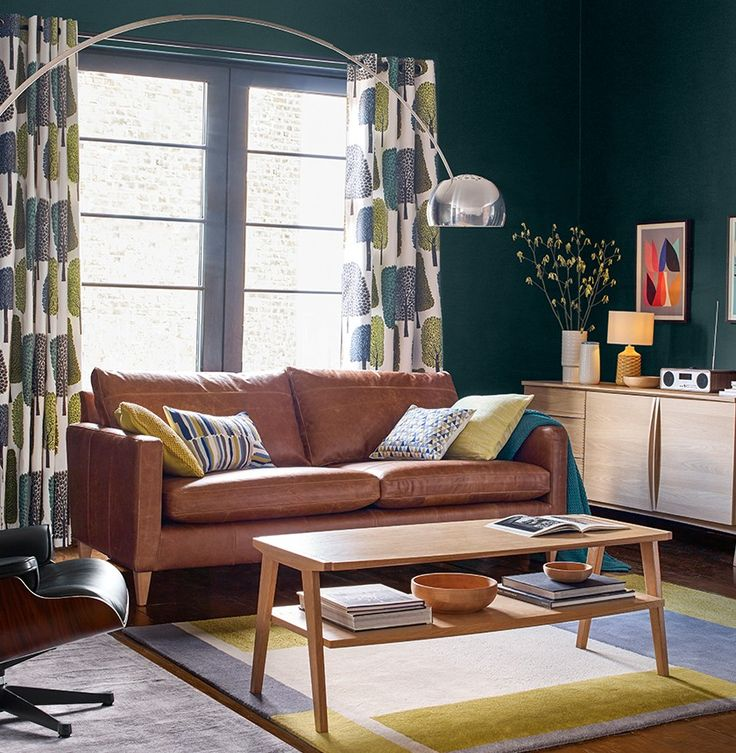 Scion, Leather Sofa, John Lewis, Living Room Ideas, Scandinavian, Blues,  Curtains, Luster Part 77
