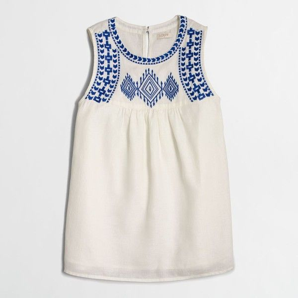 J.Crew Factory embroidered tank top ($35) ❤ liked on Polyvore featuring tops, embroidered tank, linen tank, embroidery top, j crew tank and j crew tank top