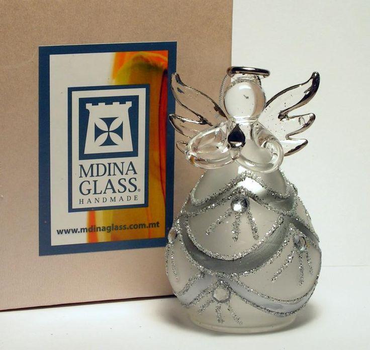 Aniołek anioł szklany srebrny Mdina Glass -8%