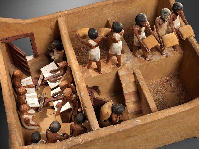 Maqueta representando a un granero con escribas. Hacia 1981-1975 a.C. durante el reinado de Amenemhat I. Dinastía XII perteneciente al Imperio Medio de Egipto. Museo Metropolitano de Arte en Nueva York.