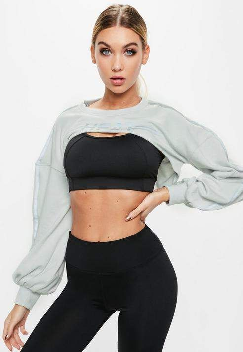 fcd3dbac49f1b Missguided Active Grey Heat Graphic Front Cut Out Sweatshirt