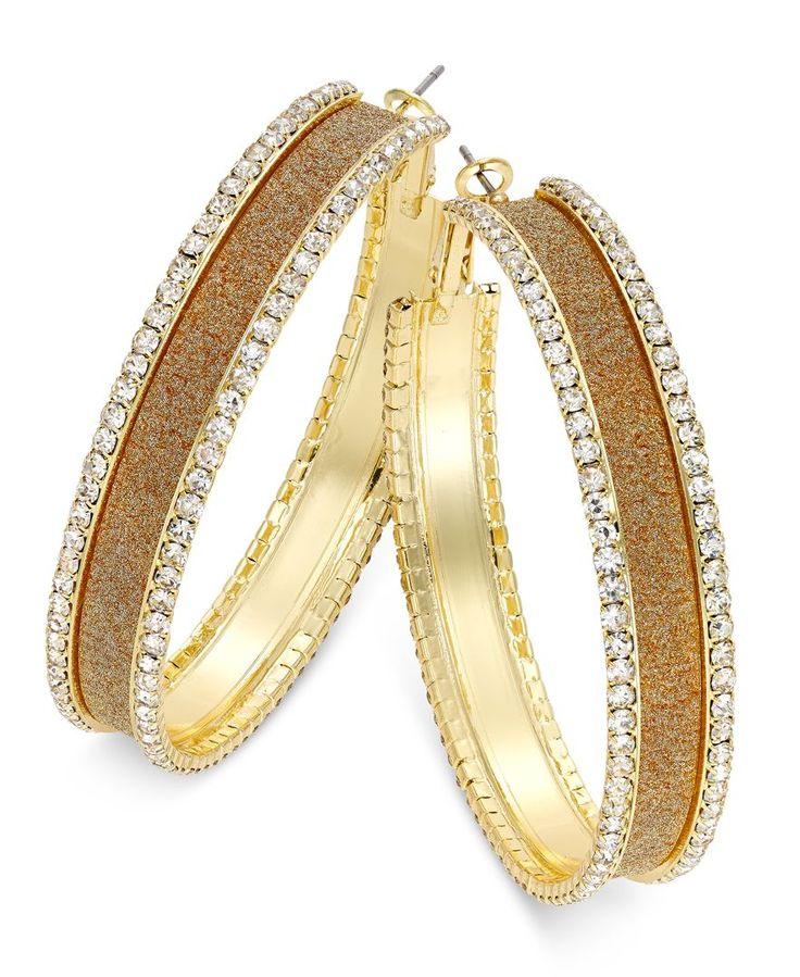 Thalia Sodi Gold-Tone Pave Glitter Hoop Earrings, Only at Macy's