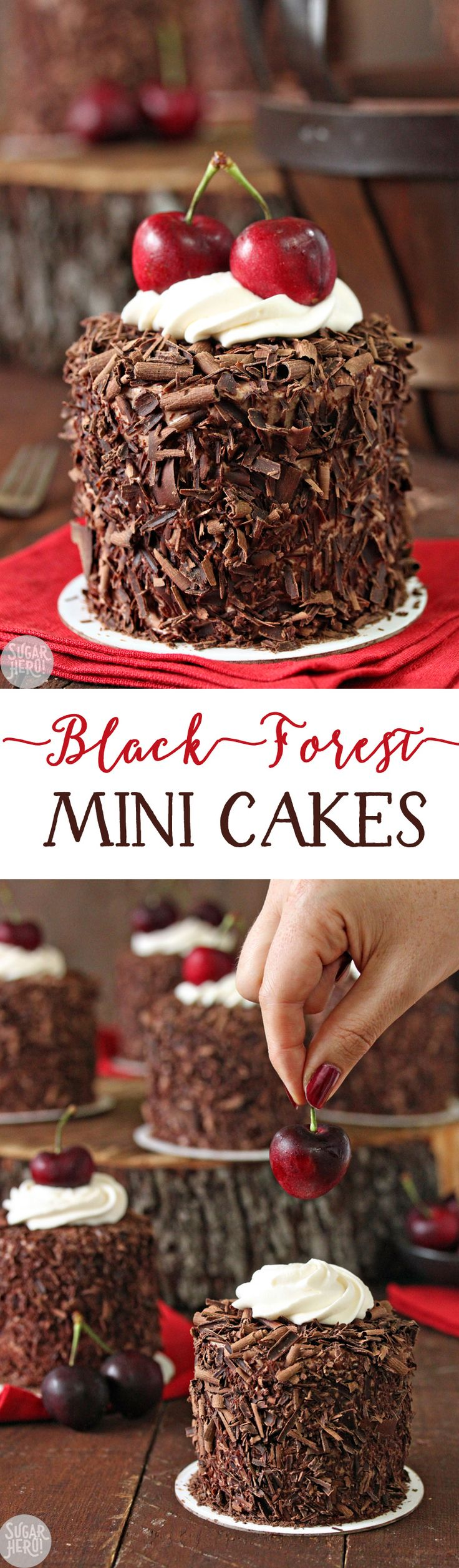 Black Forest Mini Cakes - adorable chocolate-cherry cakes, with a fresh cherry on top! | From SugarHero.com