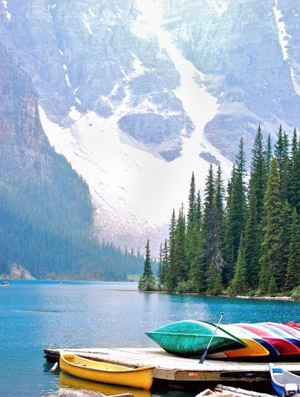 Canoeing at Moraine Lake? Yes please! Alberta, Canada