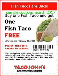 free Taco Johns coupons for march 2017