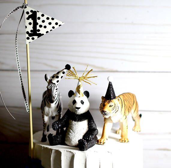 Premier anniversaire gâteau Topper Zoo anniversaire animaux