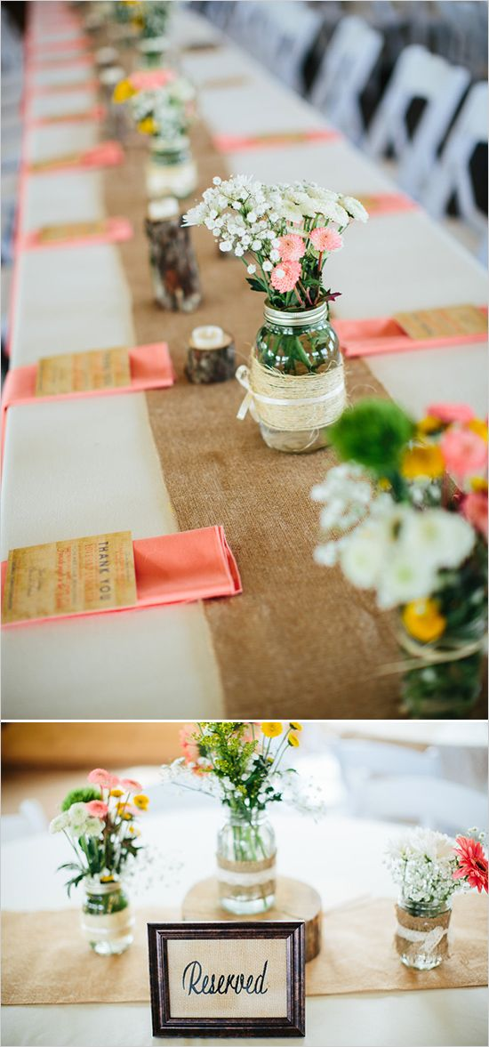 burlap table runners with mason jar centerpieces