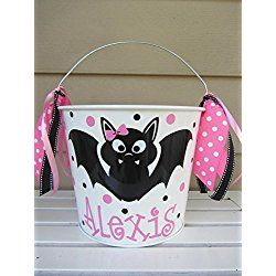 Personalized 5 quart Halloween pail or gift bucket - bat design