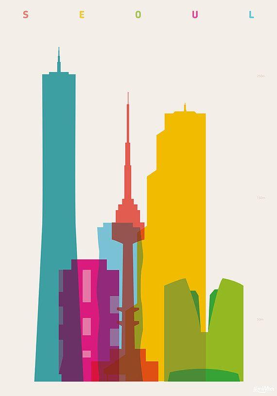 Shapes of Seoul art print by DesignedbyYoni on Etsy
