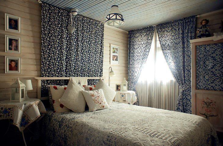 Милый дизайн интерьера спальни в деревенском стиле