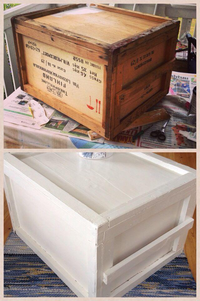 Hittade en gammal låda som jag sedan målat om, är nu mitt vardagsrumsbord.