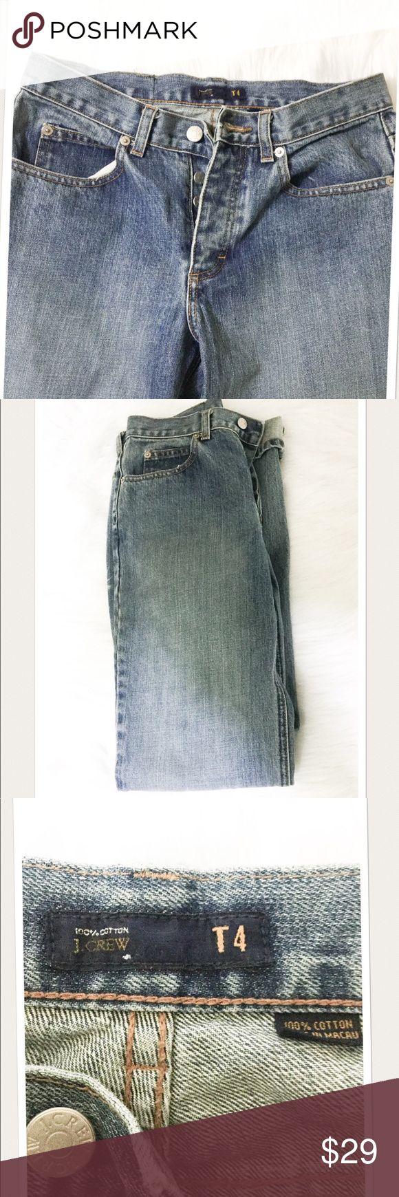 J. Crew Button Fly Jeans Excellent preowned condition. J. Crew button fly straight leg blue jeans. Size four.  ✔️posh rules only ✔️no paypal ✔️no lowball offers  Price firm unless bundled  I'm a suggested user and party host, posh ambassador, posh mentor, and I'm five star rated so buy with confidence!  H A P P Y  P O S H I N G  ➰✔️➰✔️➰✔️➰✔️➰✔️➰✔️➰ J. Crew Jeans Straight Leg