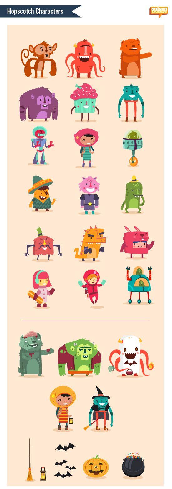 :::Hopscotch app characters::: | Ilias Sounas