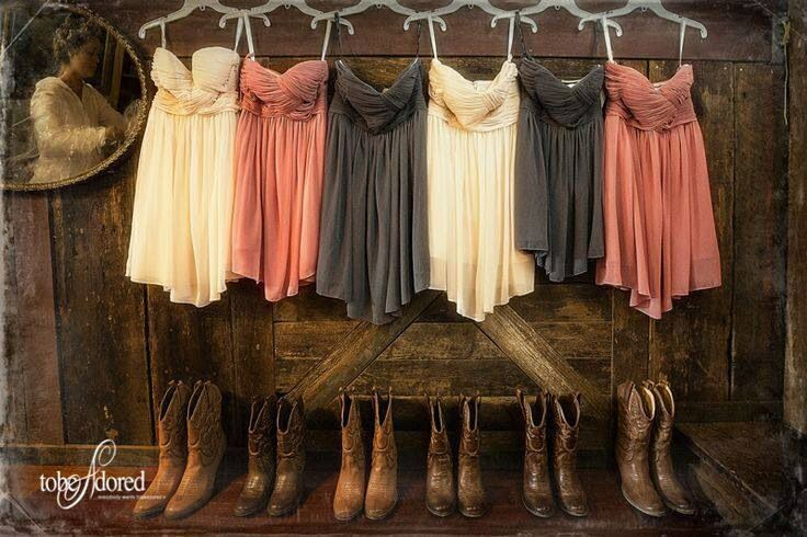 Mix match bridesmaid dresses with cowboy boots! Love it!