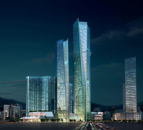 Eton Place Dalian Tower The highest building scheduled to finish in 2013 a mixed-use complex for the city in north-east China. Designed by architects NBBJ, the glazed skyscraper is yet to reach full height, but once complete it will become one of the top twenty tallest buildings in the world. #lights #buildings #skyscraper