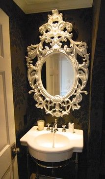 East Coast Revival - eclectic - Powder Room - Seattle - Kristi Spouse Interiors WOWZA! What a mirror!