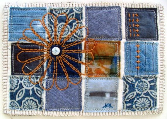 Fiber Art, original, mini art quilt, featuring hand dyed cotton using shibori resist, salvaged shirting, applique and hand embroidery via Etsy
