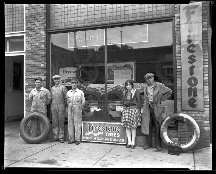 Folberg Tire Shop on October 8, 1929 in Clay Center Kansas.