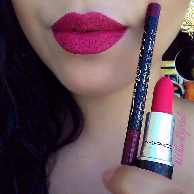 Mac Relentlessly Red and @LagirloCosmetics Auto Lip Liner in Berries