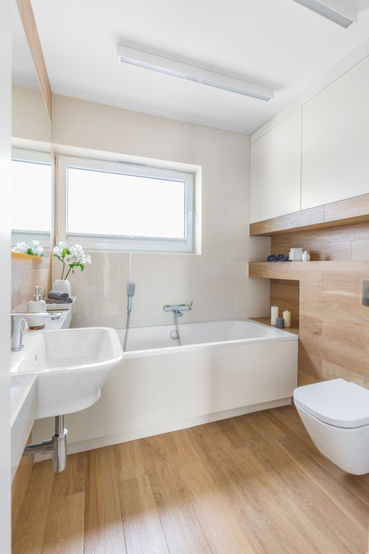 Wooden Flooring Bathroom Ideas (56