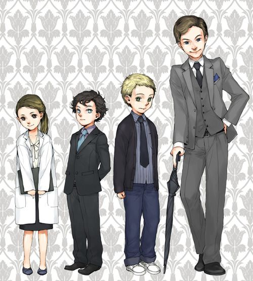 Molly - 7 Sherlock - 8 John - 10 Mycroft - 15 (SO CUTE!) (That was Sherlock's age when he tried to get the police interested in why a boys shoes were missing at the swimming pool and they wouldn't listen.)
