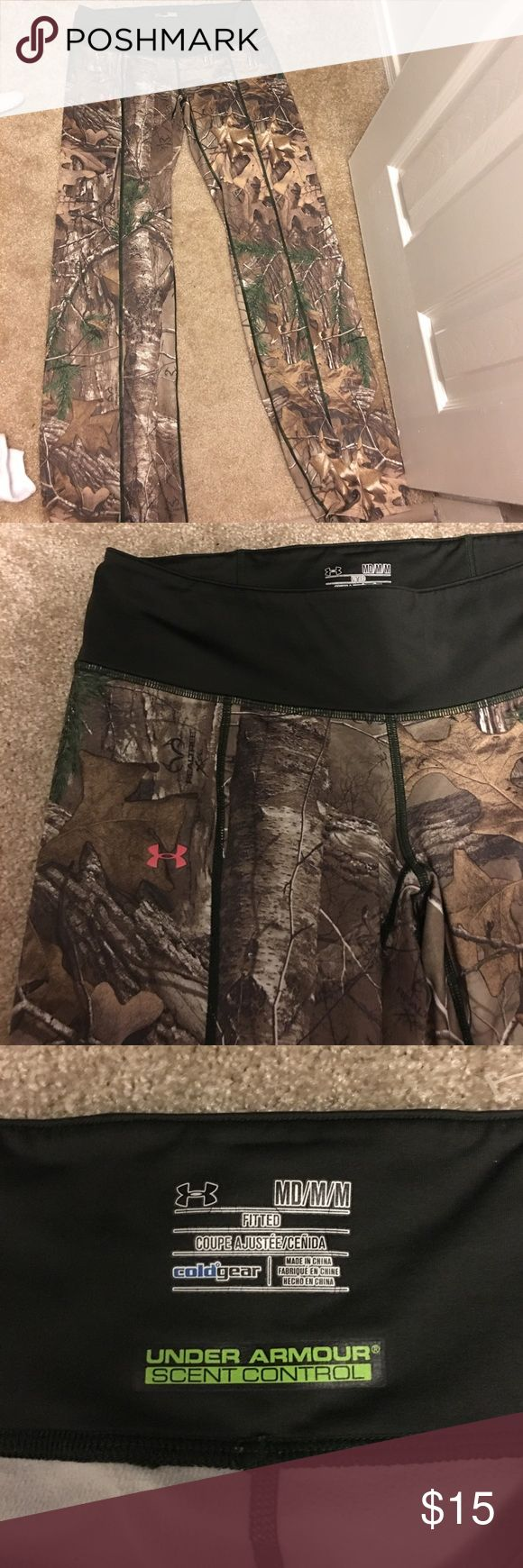 "Realtree Camo Yoga Pants UNDER ARMOUR Yoga pant type camo pants. Size Medium. Under Armor brand. Worn a few times but in great condition. From the ""cold gear"" line. Under Armour Pants Leggings"