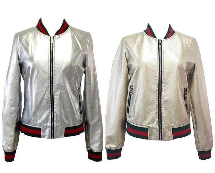 Δερμάτινο Γυναικείο Bomber Jacket Sleek Chic σε ασημί ή χρυσό, από 82€ Μόνο 69.90€