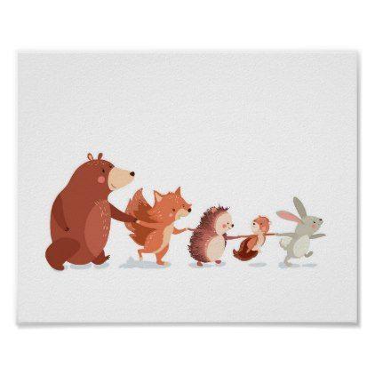 #Woodland nursery Animal Wall decal Kids Bear Fox Poster - #nurseryart #nursey #art #baby #cute #print #babies