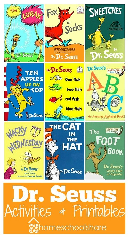 Dr. Seuss lessons, activities, printables, and lapbook pieces for The Lorax, Fox in Socks, Sneetches, Ten Apples up on Top, Dr. Seuss' ABC, Wacky Wednesday, The Cat in the Hat, The Foot Book, One Fish Two Fish, and more! from Homeschool Share