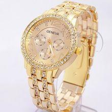 2015 nova famosa marca mulheres ouro genebra aço inoxidável relógio de quartzo militar relógio analógico de cristal Feminino Hot(China (Mainland))