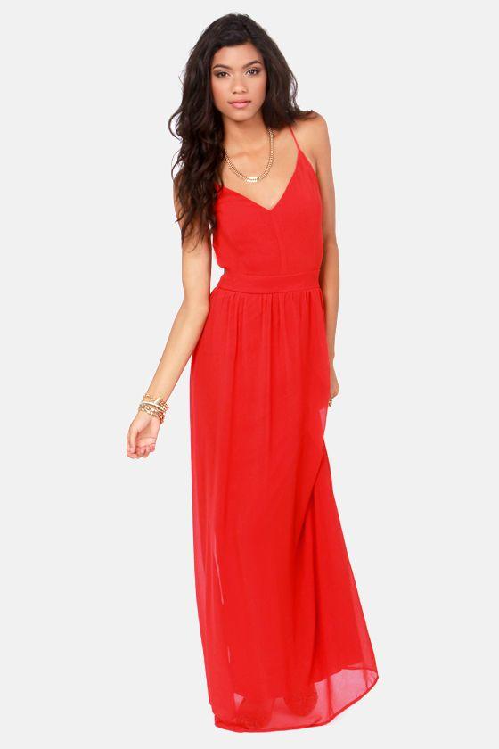 Spaghetti strap red maxi dress