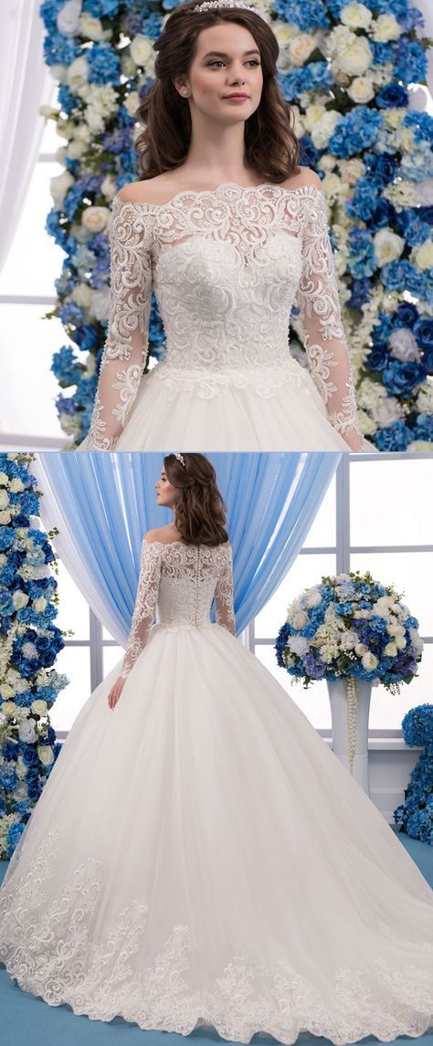 Romantic Tulle Bateau Neckline Ball Gown Wedding Dress With Lace Appliques & Beadings