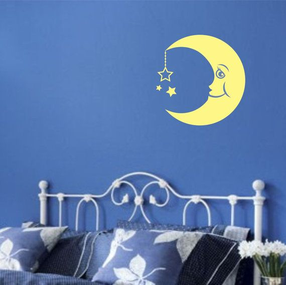 Moon Wall Decal Crescent Moon And Stars Man In The Moon Baby Children Kids Wall  Decals Moon And Stars Vinyl Decorations Half Moon Wall Decal