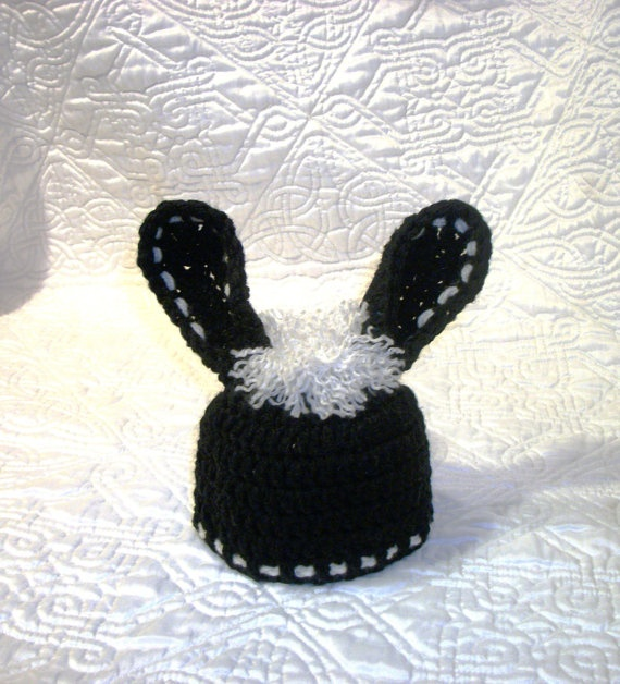 Easter bunny hat  Black bunny rabbit hat for by crochetedcuddles, $12.95  #Easter #bunny #hat #black #rabbit #white #hair #baby #crochet #photo #prop #handmade #hat #ear #ears #animal #newborn #baby #toddler