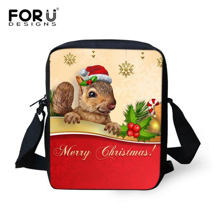 Christmas Squirrel Messenger Bags Women Mini Shoulder Handbag Cross Body Satchel