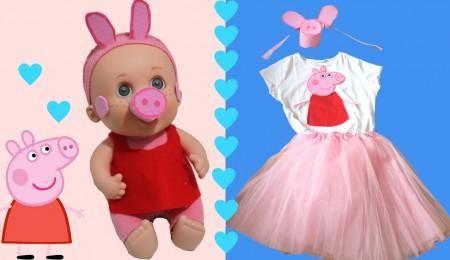 Disfraz de Peppa Pig para las niñas y sus muñecas: Baby Pelón o Nancy   Aprender manualidades es facilisimo.com