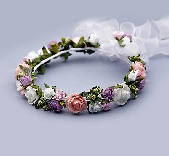 Romantic floral headpiece festival flower girl by FloralHeadpiece