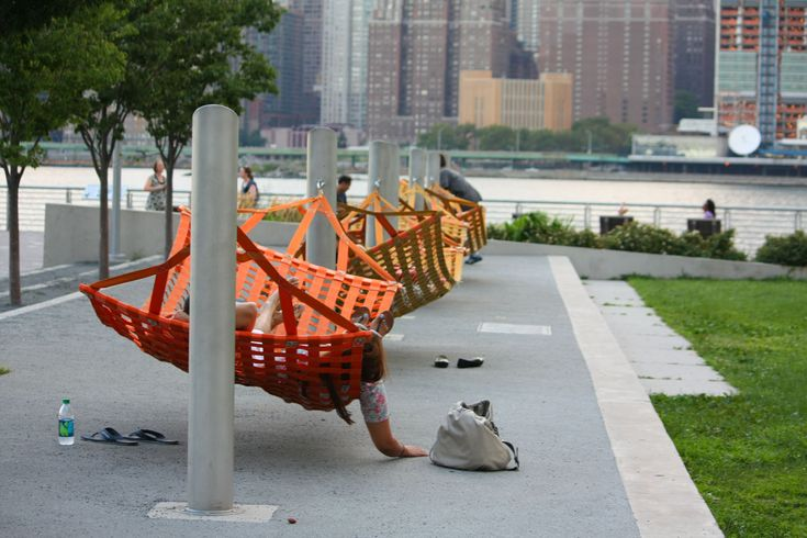 Hammocks at Gantry Plaza State Park, East River, NYC. Click image for full…