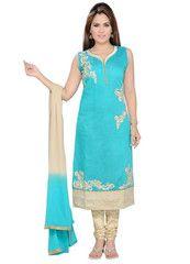 Firozi Color Art SilK Ready-made Salwar Suits ( Sizes - 36, 38, 40, 42, 44 ) : Shailja Collection  YF-42351