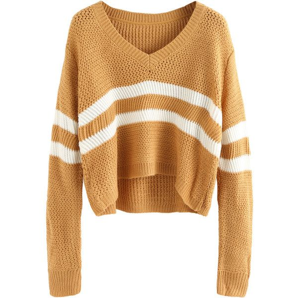 Khaki V Neck Striped Crop Sweater ($15) ❤ liked on Polyvore featuring tops, sweaters, khaki, v-neck pullover sweater, acrylic sweater, v-neck sweater, stripe sweater and cropped sweater