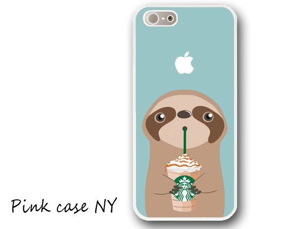iPhone 6/ 6S/ 6plus/ 6S plus, iPhone 5/ 5S/ 5C, iPhone 4/ 4S, iPhone SE - I love Starbucks - Sloth - Frappuccino