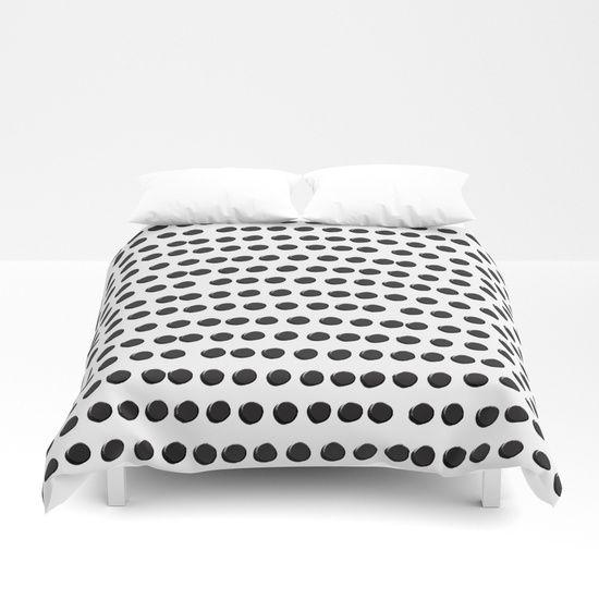 Black Dots White Background Asymmetrical Pattern Duvet Cover