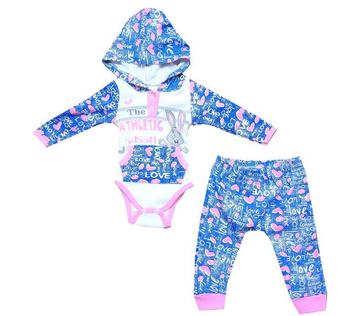 004  Комплект для новорожденных,боди с капюшоном+ползунка,для девочек 3-6-9 месяцев