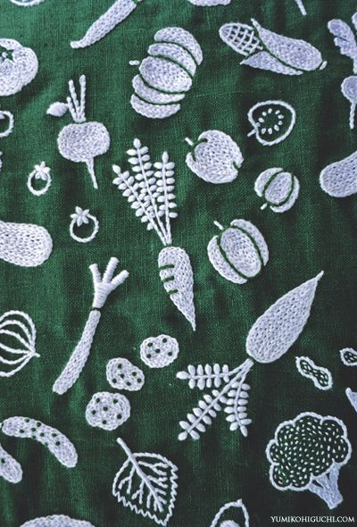 vegetables embroidery by yumiko higuchi