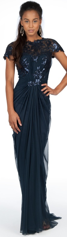 Paillette Lace and Tulle Gown in Navy #navy #long #dress #formal #evening #dresses #lace