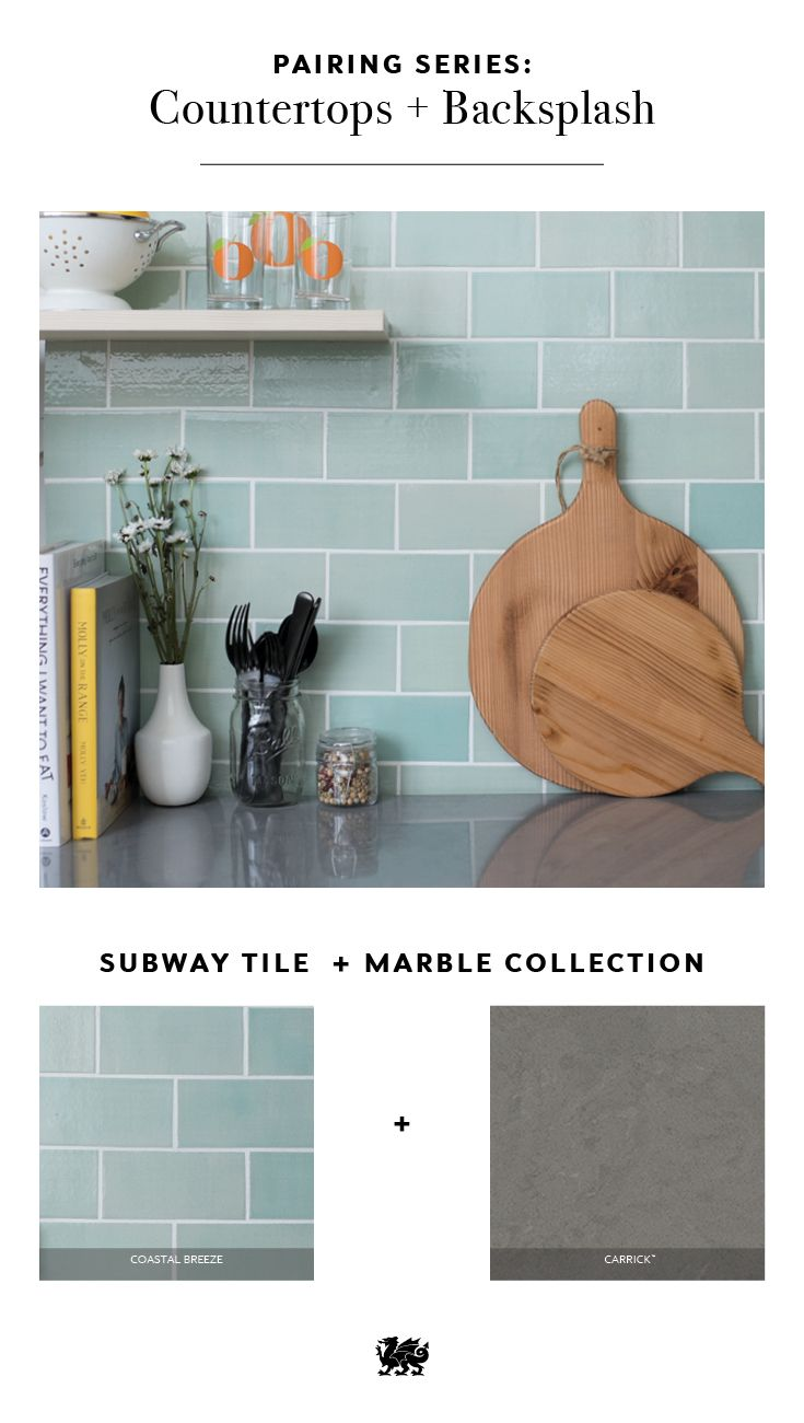 Mint green and gray is a contemporary combination that works well for a subway-tile kitchen backsplash and gray countertops. If you love the idea of concrete countertops but don't want to worry about the maintenance, try Cambria quartz countertops in our Carrick design. Available in either Cambria Matte finish or high gloss finish, Carrick offers a maintenance-free concrete alternative for your kitchen renovation. #MyCambria